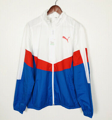PUMA Men's Colorblock Windbreaker Jacket, Size LARGE Logo Print Blue/Red/White