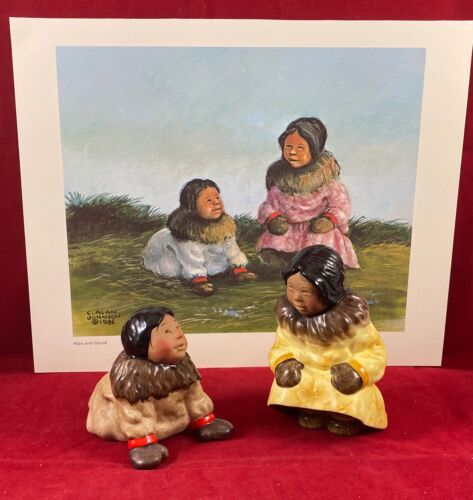 """Vintage """"Mae and David"""" Print & Figurines by C. Alan Johnson, 1985, Pre-Owned"""