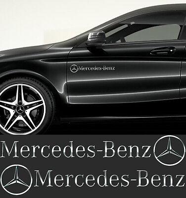 Mercedes-Benz Stern Aufkleber Seitenaufkleber 2 Stk CHROM SPIEGELEFFEKT Folie