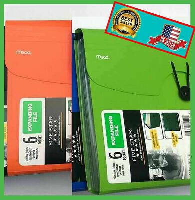 Five Star 6-pocket Expanding File Plastic Expandable File Folder Green