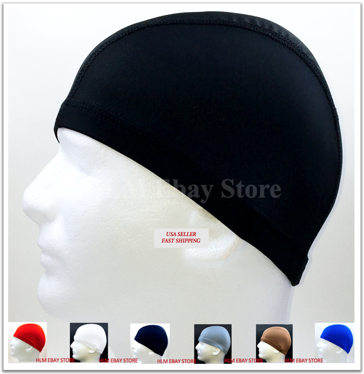 Купить Spandex Dome Cap Helmet Liner Sports FootBall Biker Beanie Hat Head wrap Black