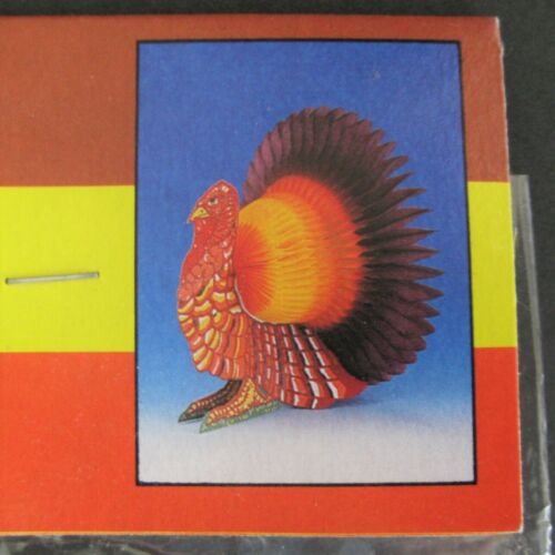"Honeycomb Turkey Centerpiece Thanksgiving Sealed 14"" Fold Out Vintage 1980s"