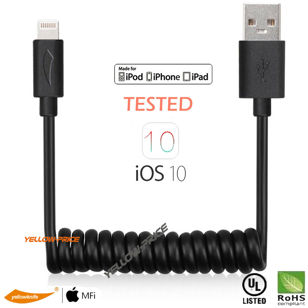 Coiled Retractable MFI Lighting Cable Flexible USB Data Sync