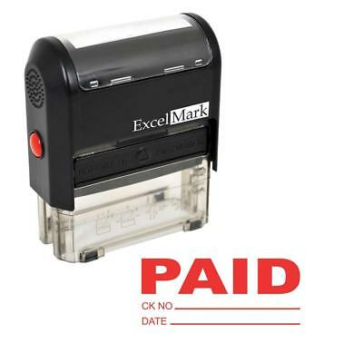 Paid With Check And Date - Excelmark Self Inking Rubber Stamp A1539 Red Ink