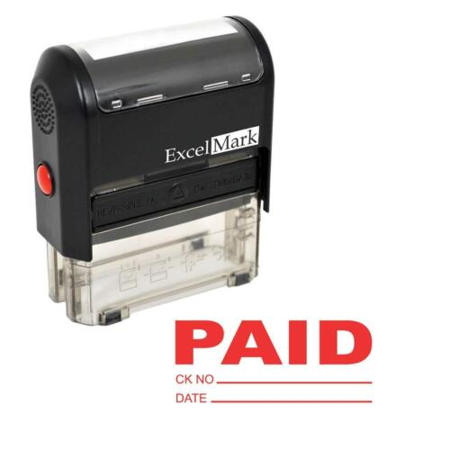 PAID With Check and Date - ExcelMark Self Inking Rubber Stamp A1539 | Red Ink