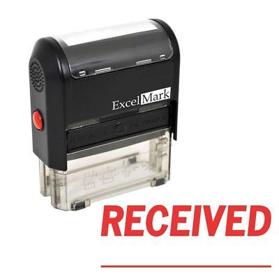 Received - Excelmark Signature Line Self Inking Rubber Stamp A1539 Red Ink