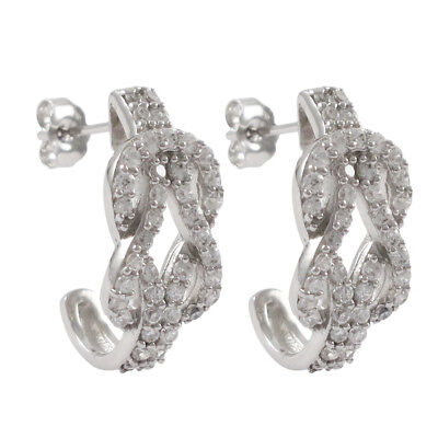 Sterling Silver White CZ Rows Open Love Knot Pierced Drop Earrings Chic Sterling Silver Love Knot