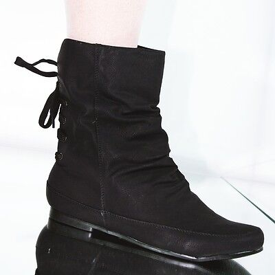 Boots Stiefelette Trend Design gefüttert mit Schnürung Damen schwarz 10198 Schnürung Design
