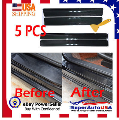 4 PCS Universal Carbon Fiber Car Scuff Plate Door Sill Sticker Panel Protector