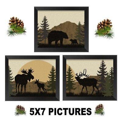 💗 5X7 Moose Bear Pictures Rustic Lodge Log Cabin Wall Hangings Decor ()