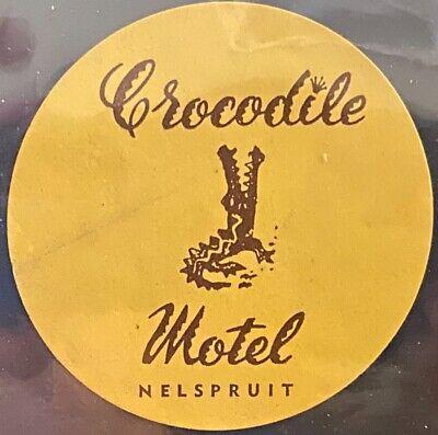 Vintage Luggage Label ~ Crocodile Motel Nelspruit SOUTH AFRICA