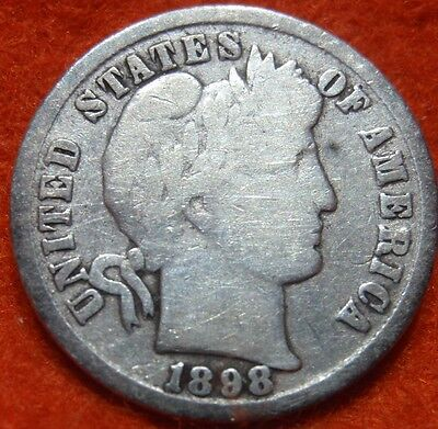 1898 SILVER BARBER DIME 10 CENT  COIN