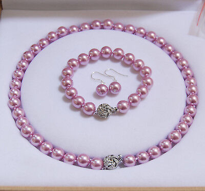 8/10/ 12mm Lavender Akoya Shell Pearl Round Beads Necklace Bracelet Earrings AAA ()