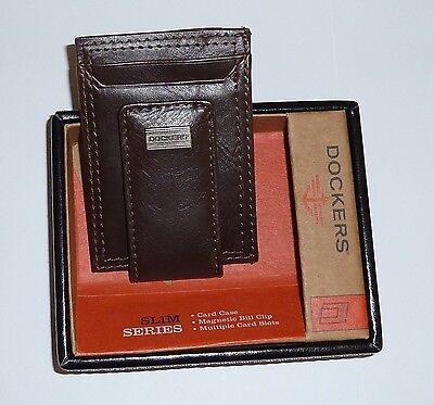 Dockers Leather Wallet Card Slots Case Bill Clip Front Pocket Brown Magnetic