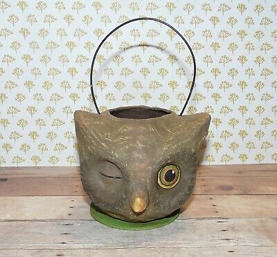 Bethany Lowe Paper Mache Owl Faced Mini Candy Bucket ~ Winking Owl