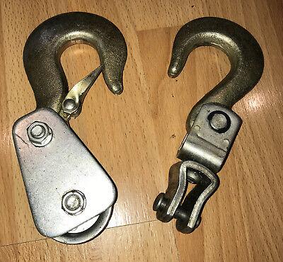 2 Vintage Hoist Hook Lot 1 With Safety Latch