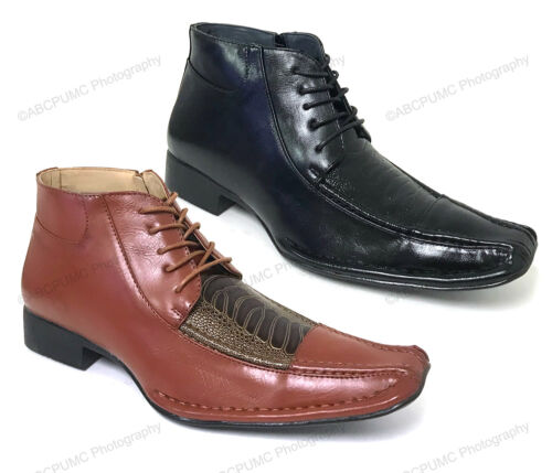 Mens, Boots, Alligator, Crocodile, Lace, Up, Cowboy, Western, Leather, Lined, Ankle, Zipper