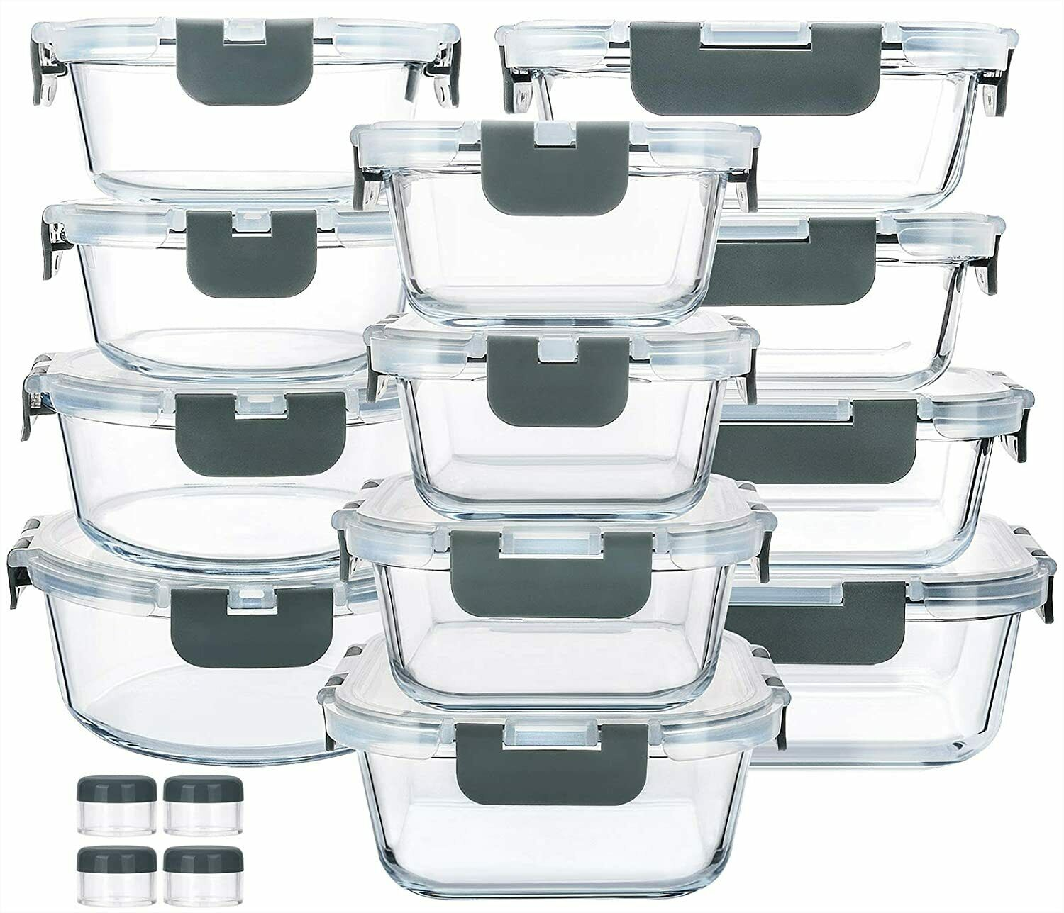24 PCS Glass Food Storage Containers with Upgraded Snap Lock