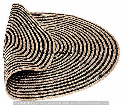 Antique Indian Dhurrie Yoga Fiber Area Rag Rug Jute Cotton Door Mat Carpet Round