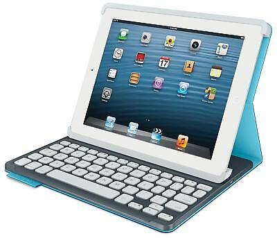 Logitech Protective Folio Case Keyboard Apple iPad 2 3 4 Electric Blue