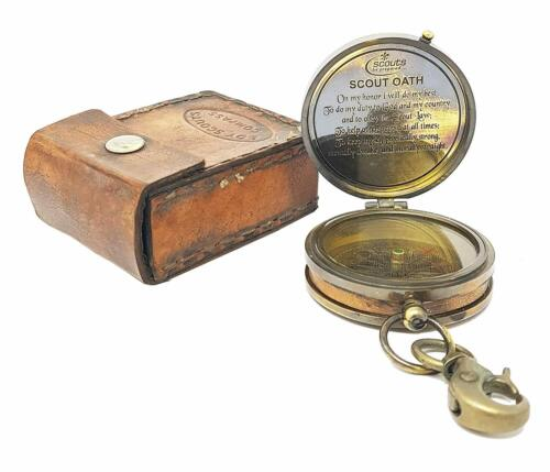 Antique Brass American Boy Scout Brass Compass W/Scout Oats Brown Leather case
