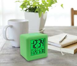 Equity Soft Cube LCD Travel Alarm Clock with Silicone Rubber Case Neon Green