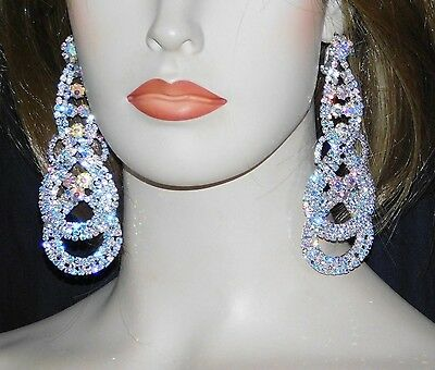 Iridescent Crystal - AB IRIDESCENT RHINESTONE CRYSTAL BRIDAL SILVER CHANDELIER CLIP EARRINGS /264