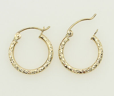 - 14K Yellow Gold 1.5mm Thick Small Diamond Cut Classic Hinged Hoop Earrings 15mm