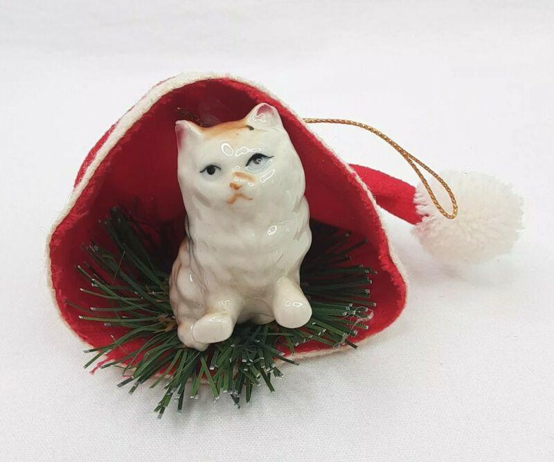 Vintage Enesco Christmas Ornament Ceramic Cat Inside Santa Hat