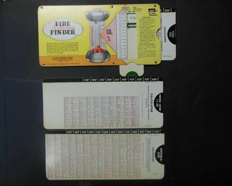 1972 Bacharach Fyrite Fire Finder Stack Loss Calculator w 3 Slide Rule Cards