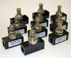 Lot 0f 10 Pneumatic Air Flow Speed Control Valves 1/4