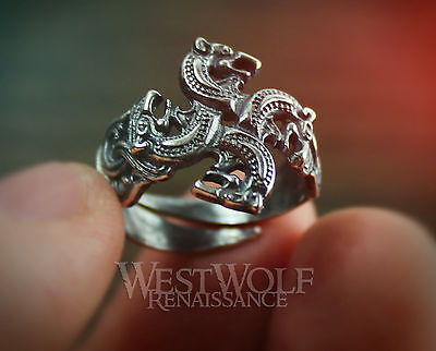 Viking Wolves Ring - Size 6/7/8/9/10 - 925 SILVER - Wolf/Direwolf/Norse/Medieval