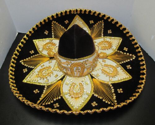 "Authentic Large Salazar Yepez 23""Diam.Black & Gold Beautiful Mexican Sombrero"