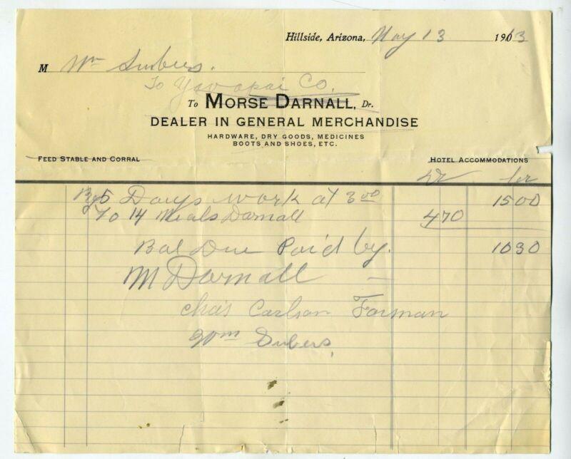 ARIZONA – HILLSIDE GHOST TOWN BILLHEAD 1913