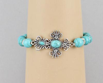 cross bracelet stretch Turquoise Silver stretchy beaded bracelet metal - Charm Stretch Bracelet