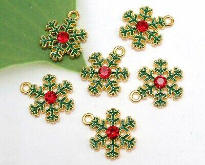 6 Enamel & Rhinestone SNOWFLAKE Charms, Gold Plated Christmas Charm Set Lot -