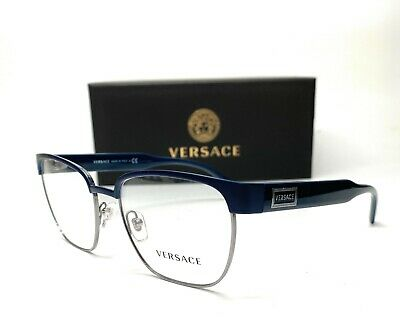 Versace VE1264 1462 Matte Blue Gunmetal Demo Lens Men Pillow Eyeglasses 54mm