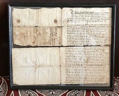 Rare Genuine Vintage Antique 2-Sided Framed Indenture British Lancaster 1790