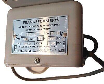 Franceformer 9000 Volt Secondary 20ma Neon Transformer 9020 Wm 120 Primary