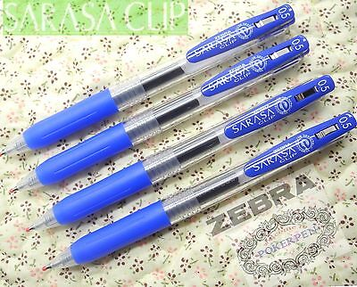 Free Ship 4pcs Zebra Sarasa Clip 0.5mm Roller Ball Pen Blue Ink