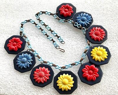 Vintage galalith galalite and celluloid multi coloured flowers necklace, usado comprar usado  Enviando para Brazil