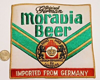 """Moravia Beer  Embroidered Jacket Patch  7""""  inches  Ale Vintage"""
