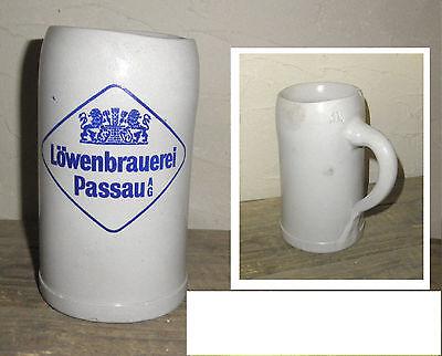 KURIOSITÄT Krummer HUND Brauereikrug LÖWENBRÄU Maßkrug 1 L Steingut Bierkrug jug