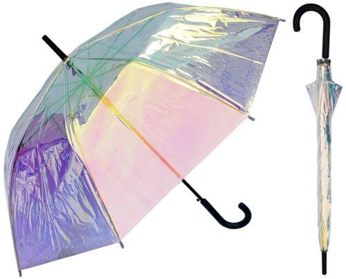 "46"" Arc, Auto Open Iridescent Clear Standard Frame Umbrella-RainStoppers Rain"