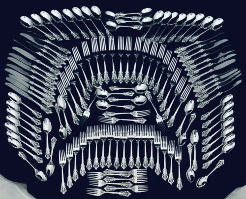 GRAND BAROQUE BY WALLACE  STERLING SILVER FLATWARE SET FOR 24~HIGH GRADE