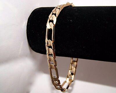 24k Layered - Real 24K Gold Layered Italian Figaro Cut 10MM Mens Chain Bracelet Free Guarantee