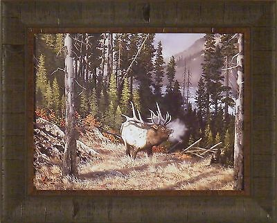 His Domain - HIS DOMAIN by Ray Whitson 17x21 FRAMED ART Print ELK WILDLIFE MOUNTAIN TREES