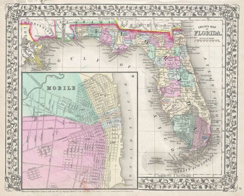 1867 Mitchell Map of Florida (w/ Mobile, Alabama inset)