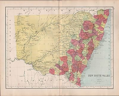 1875 ANTIQUE MAP - AUSTRALIA, NEW SOUTH WALES, STATES