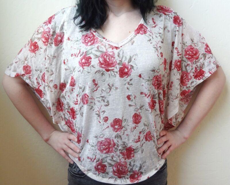 Forever 21 Rose Patterned Shawl Loose Blouse Knit Top Size M Medium EUC